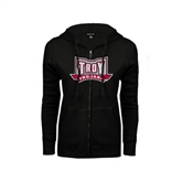 ENZA Ladies Black Fleece Full Zip Hoodie-Troy Trojans Wide Shield