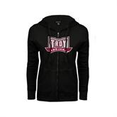 ENZA Ladies Black Fleece Full Zip Hoodie-Troy Trojans Wide Shield