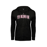 ENZA Ladies Black Fleece Full Zip Hoodie-Arched Trojans