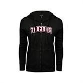 ENZA Ladies Black Fleece Full Zip Hoodie-Arched Trojans