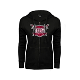 ENZA Ladies Black Fleece Full Zip Hoodie-Troy Trojans Shield Distressed