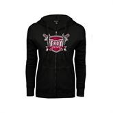ENZA Ladies Black Fleece Full Zip Hoodie-Troy Trojans Shield Distressed