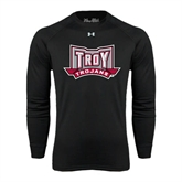 Under Armour Black Long Sleeve Tech Tee-Troy Trojans Wide Shield