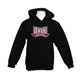 Youth Black Fleece Hoodie-Troy Trojans Wide Shield