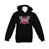 Youth Black Fleece Hoodie-Troy Trojans Shield Distressed