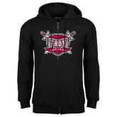 Black Fleece Full Zip Hoodie-Troy Trojans Shield