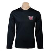 Performance Black Longsleeve Shirt-Troy Trojans Shield