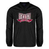 V Neck Black Raglan Windshirt-Troy Trojans Wide Shield