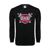 Black Long Sleeve TShirt-Troy Trojans Shield