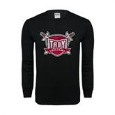 Black Long Sleeve TShirt-Troy Trojans Shield Distressed