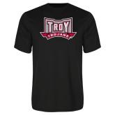 Performance Black Tee-Troy Trojans Wide Shield