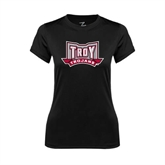 Ladies Syntrel Performance Black Tee-Troy Trojans Wide Shield