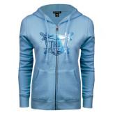 ENZA Ladies Light Blue Fleece Full Zip Hoodie-Troy Trojans Shield Foil