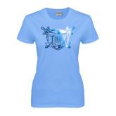 Ladies Sky Blue T-Shirt-Troy Trojans Shield Foil