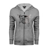 ENZA Ladies Grey Fleece Full Zip Hoodie-Troy Trojans Shield Foil