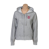 ENZA Ladies Grey Fleece Full Zip Hoodie-Troy Trojans Shield