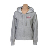 ENZA Ladies Grey Fleece Full Zip Hoodie-Troy Trojans Wide Shield