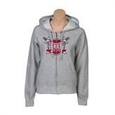Ladies Grey Fleece Full Zip Hoodie-Troy Trojans Shield
