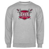Grey Fleece Crew-Troy Trojans Shield