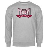Grey Fleece Crew-Troy Trojans Wide Shield