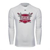 Under Armour White Long Sleeve Tech Tee-Troy Trojans Shield