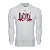 Under Armour White Long Sleeve Tech Tee-Troy Trojans Wide Shield