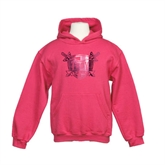 Youth Raspberry Fleece Hoodie-Troy Trojans Shield Foil