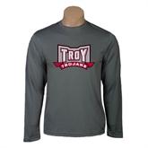 Performance Steel Longsleeve Shirt-Troy Trojans Wide Shield