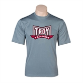 Performance Grey Concrete Tee-Troy Trojans Wide Shield