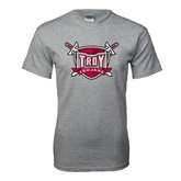 Grey T Shirt-Troy Trojans Shield