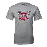 Grey T Shirt-Troy Trojans Shield
