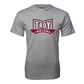 Grey T Shirt-Troy Trojans Wide Shield