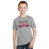 Youth Grey T-Shirt-Troy Trojans Wide Shield