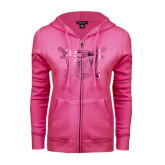 ENZA Ladies Fuchsia Fleece Full Zip Hoodie-Troy Trojans Shield Foil