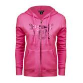 ENZA Ladies Fuchsia Fleece Full Zip Hoodie-Troy Trojans Shield Foil
