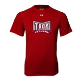 Under Armour Cardinal Tech Tee-Troy Trojans Wide Shield