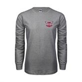 Grey Long Sleeve TShirt-Troy Trojans Shield