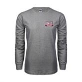 Grey Long Sleeve TShirt-Troy Trojans Wide Shield