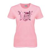 Ladies Pink T-Shirt-Troy Trojans Shield Foil
