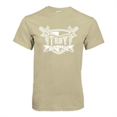 Khaki Gold T Shirt-Troy Trojans Shield