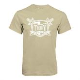 Khaki Gold T Shirt-Troy Trojans Shield