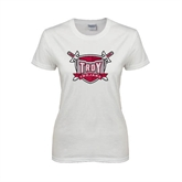 Ladies White T Shirt-Troy Trojans Shield