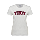 Ladies White T Shirt-Arched Troy