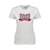 Ladies White T Shirt-Troy Trojans Wide Shield