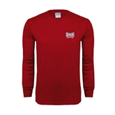 Cardinal Long Sleeve T Shirt-Troy Trojans Wide Shield