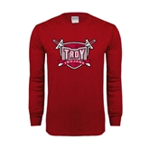 Cardinal Long Sleeve T Shirt-Troy Trojans Shield