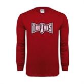 Cardinal Long Sleeve T Shirt-Trojans Shield