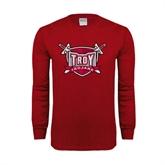 Cardinal Long Sleeve T Shirt-Troy Trojans Shield Distressed