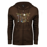 ENZA Ladies Brown Fleece Full Zip Hoodie-Troy Trojans Shield Foil