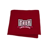 Cardinal Sweatshirt Blanket-Troy Trojans Wide Shield